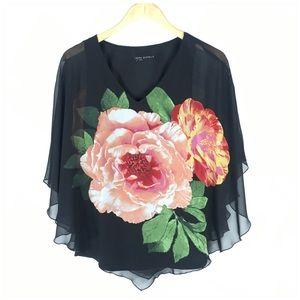 Sarah Michelle Black Floral Poncho Blouse Medium